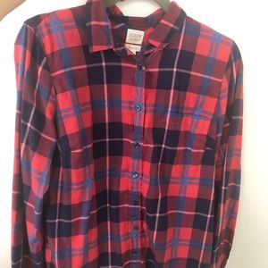 Red and Blue Plaid J. Crew Flannel, Size M